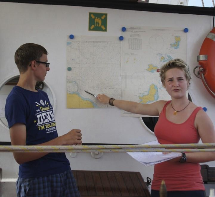Schülerin und Schüler vor Seekarte