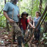 Miguel und sein Helfer erklaeren uns Pflanzen im Regenwald