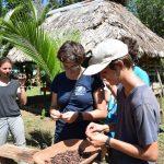 Nach dem Roesten wird die Kakaobohne von Lisa und Henry von der Schale getrennt