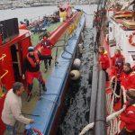 Festmachen zum Dieselbunkern am Bunkerboot in Falmouth