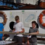 Schiffsübergabe Käptn Carl und die Steuermänner Malte und Benno präsentieren unsere Route