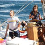 Rudergehen bei viel Wind in der Karibik