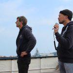 Johannes und Martin koordinieren das Einlaufen in Falmouth